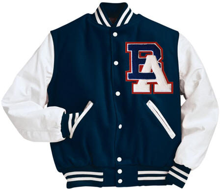 in stock varsity jackets wool body with leather sleeves. Ready to ship. Varsity Jackets Made in the USA